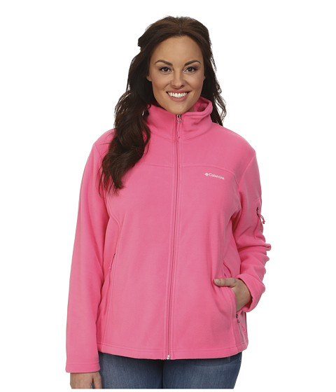 Columbia - Plus Size Fast Trek II Full Zip Fleece Jacket (Tropic Pink) Women's Coat