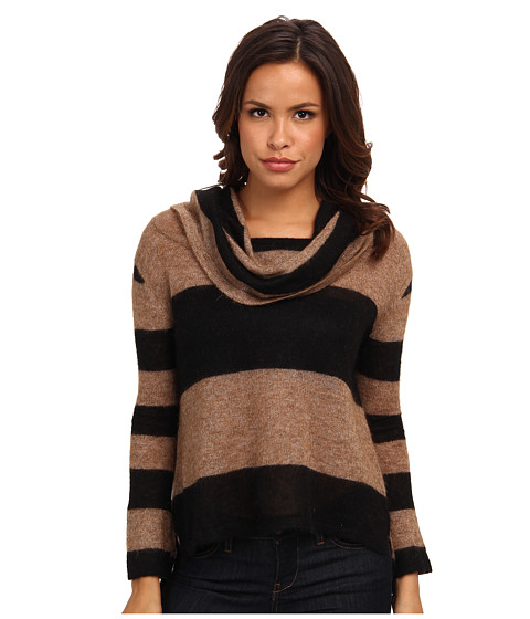 Free People - Lulu Cowl Sweater (Taupe/Black Combo) Women's Sweater