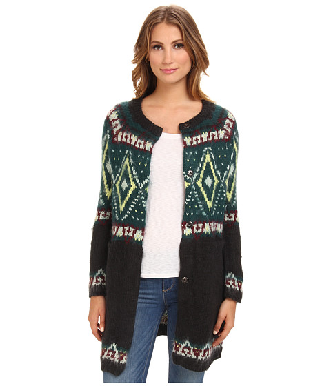 Free People - Frosted Fairisle Cardi (Charcoal Combo) Women's Sweater