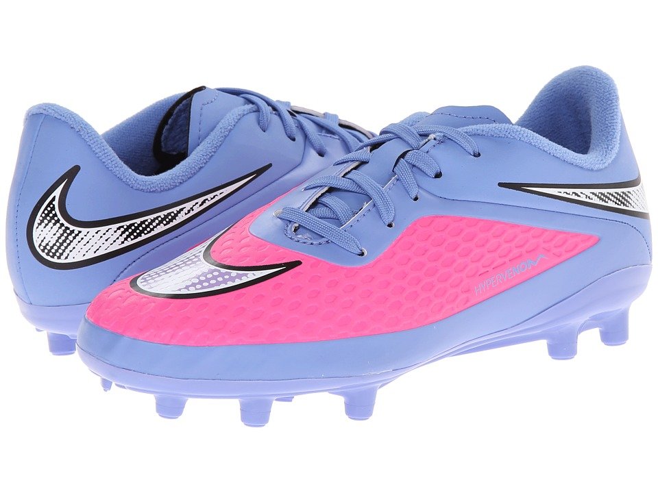 Nike Kids - Jr Hypervenom Phelon FG Soccer (Toddler/Little Kid/Big Kid) (Pink Pow/Polar/White/Chrome) Kids Shoes