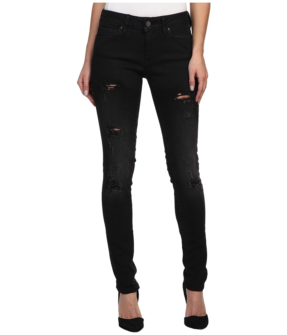 Mavi Jeans - Adriana Midrise Super Skinny in Ripped Black Coated (Ripped Black Coated) Women's Jeans