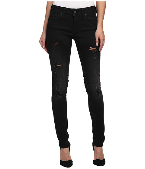 Mavi Jeans - Adriana Midrise Super Skinny in Ripped Black Coated (Ripped Black Coated) Women
