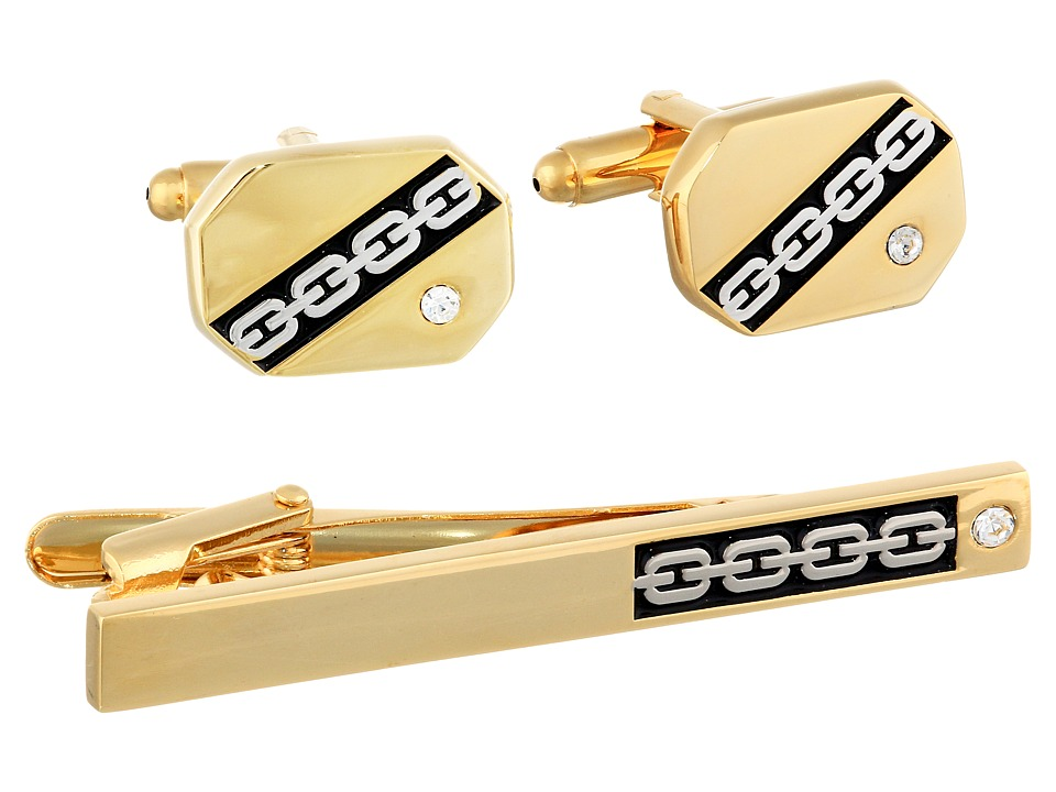 Stacy Adams - Tie Clip and Cuff Link Set (Gold) Cuff Links