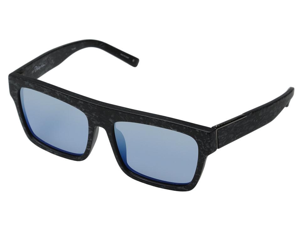 3.1 Phillip Lim - PL30C3SUN (Frosted Marble/Light Blue) Fashion Sunglasses