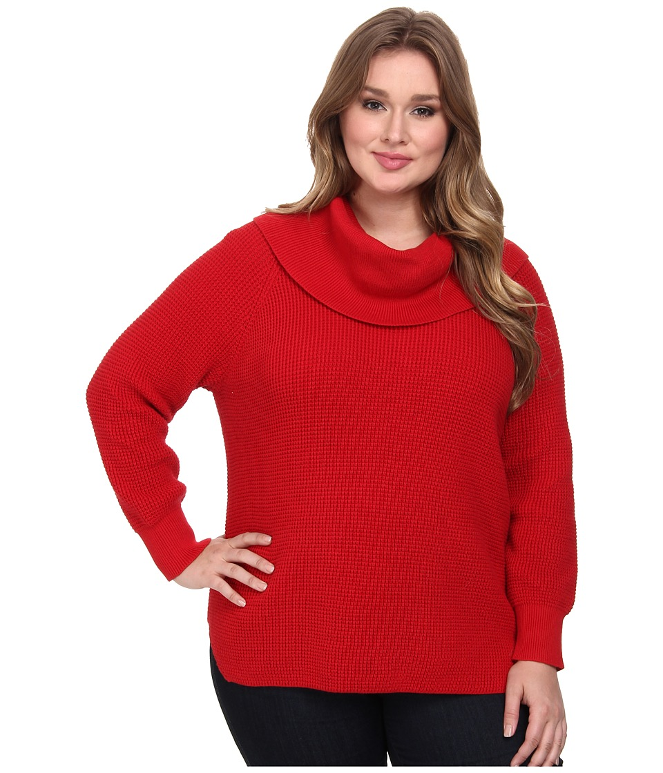 MICHAEL Michael Kors - Plus Size Thermal Cowl Neck Sweater (Red Blaze) Women