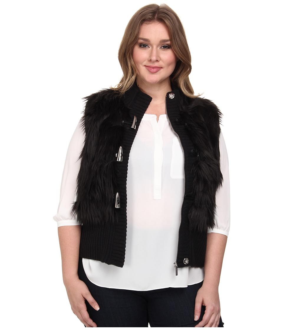 MICHAEL Michael Kors - Plus Size Fur Toggle Vest (Black) Women's Vest