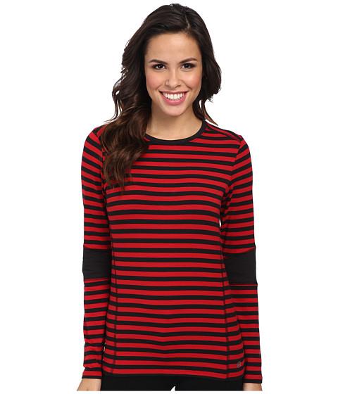 MICHAEL Michael Kors - L/S Stripe Colorblocked Top (Red Blaze/Black) Women's Clothing