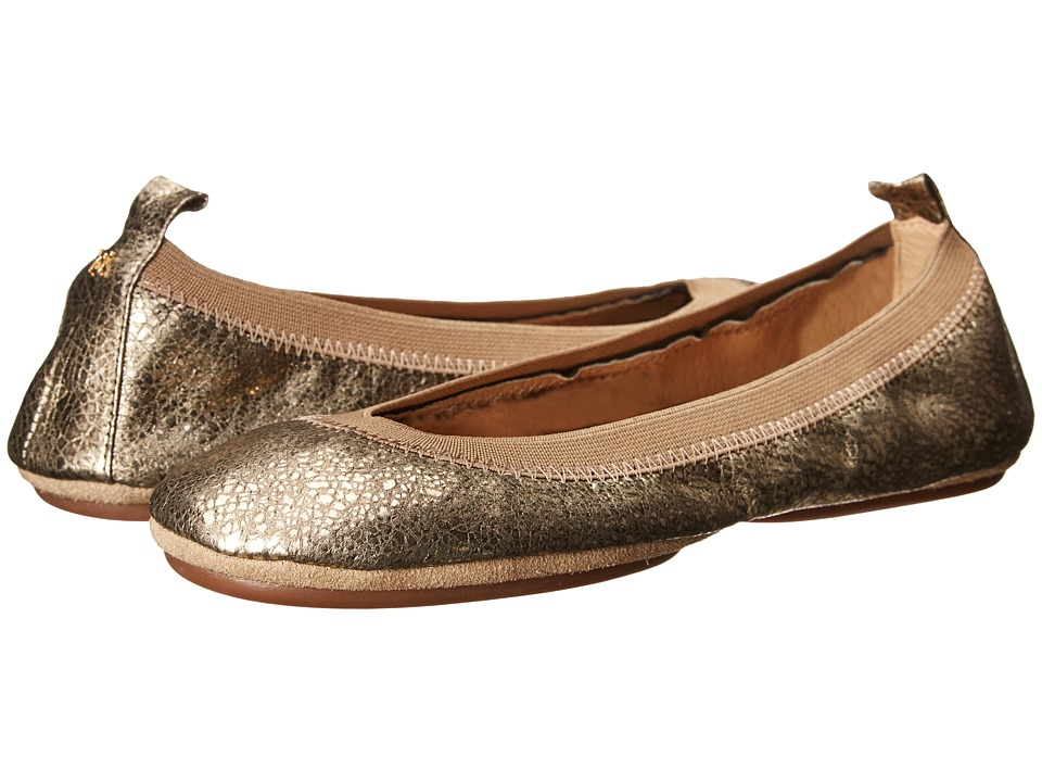 Yosi Samra - Samara Muted Metallic Leather Fold Up Flat (Gold) Women's Flat Shoes
