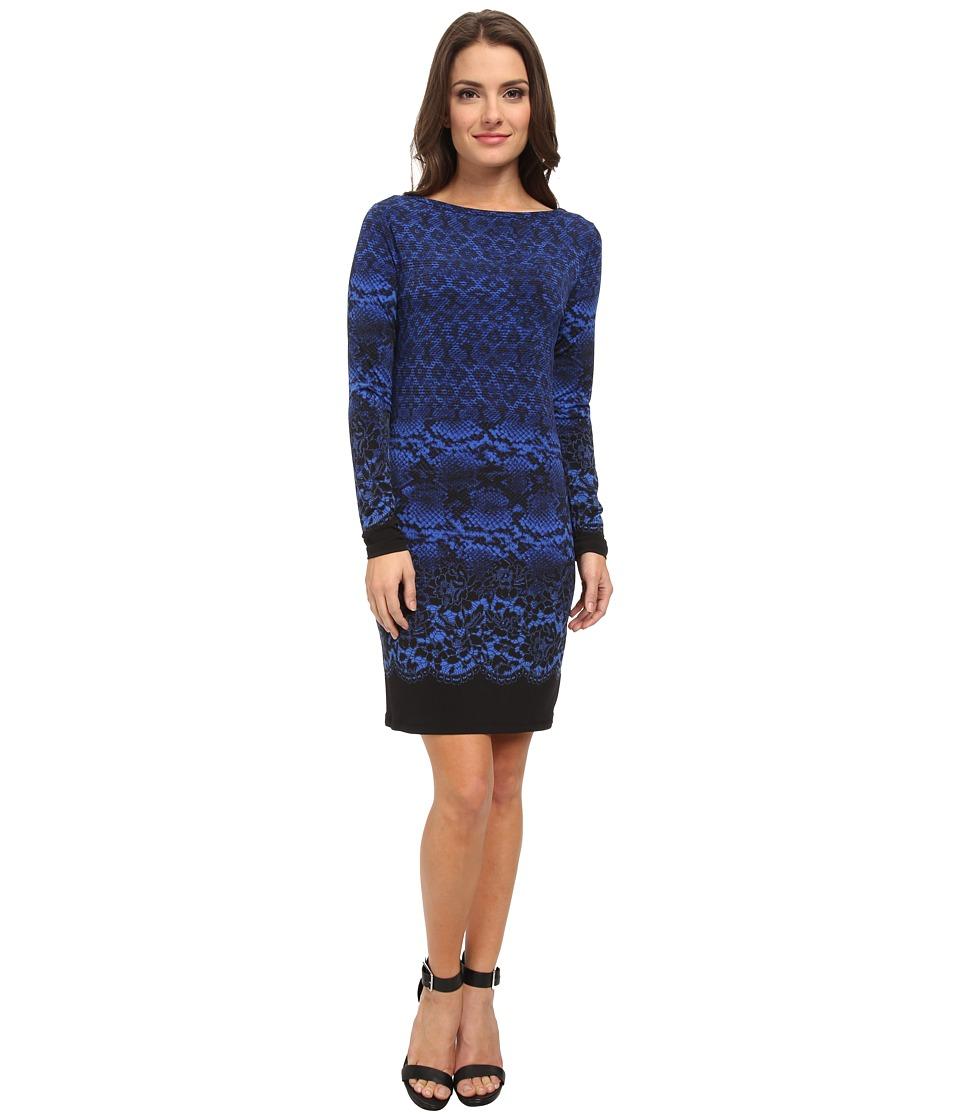 MICHAEL Michael Kors - Petite Long Sleeve Alderton Boatneck Dress (Amalfi Blue) Women's Dress