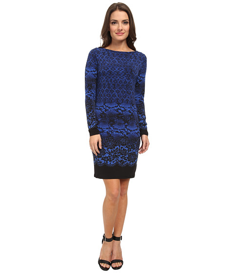 MICHAEL Michael Kors - Petite Long Sleeve Alderton Boatneck Dress (Amalfi Blue) Women's Dress