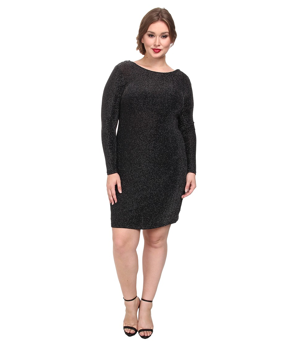 MICHAEL Michael Kors Plus Size Long Sleeve Cowl Back Dress (Black Silver) Women