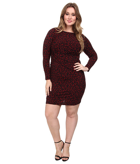 MICHAEL Michael Kors - Plus Size Longsleeve Ellensbrg Boatneck (Red Blaze) Women's Dress
