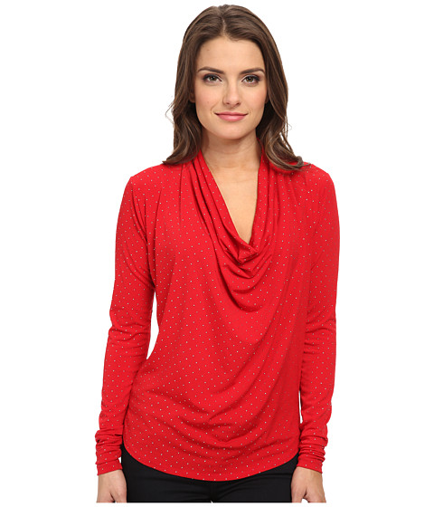 MICHAEL Michael Kors - Petite Long Sleeve Cowl Neck Dip Hem Top (Red Blaze) Women's Long Sleeve Pullover