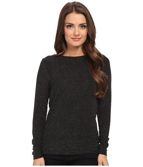 MICHAEL Michael Kors - Petite Long Sleeve Cowl Back Top (Black/Silver) Women's Long Sleeve Pullover