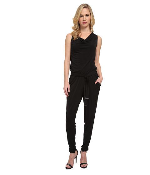 MICHAEL Michael Kors - Petite Sleeveless Cowl Neck Jumpsuit with Belt (Black) Women