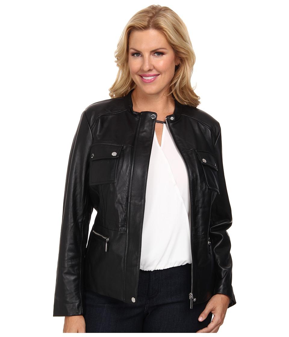 MICHAEL Michael Kors - Plus Size Structured Leather Coat (Black) Women