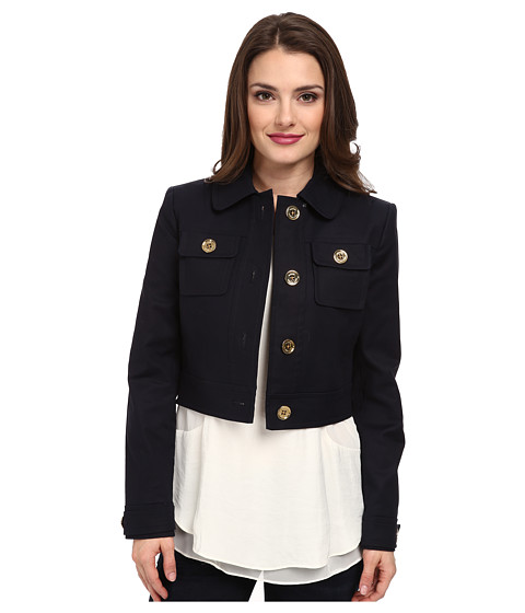 MICHAEL Michael Kors - Petite Cropped Jacket (New Navy) Women