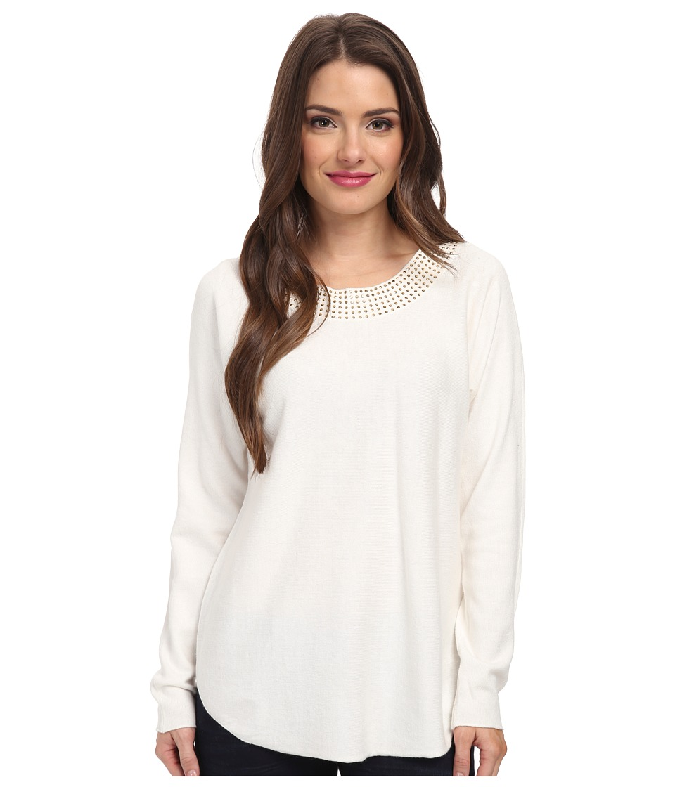 MICHAEL Michael Kors - Petite Long Sleeve Hilo Hem Embellished Sweater (White) Women's Long Sleeve Pullover