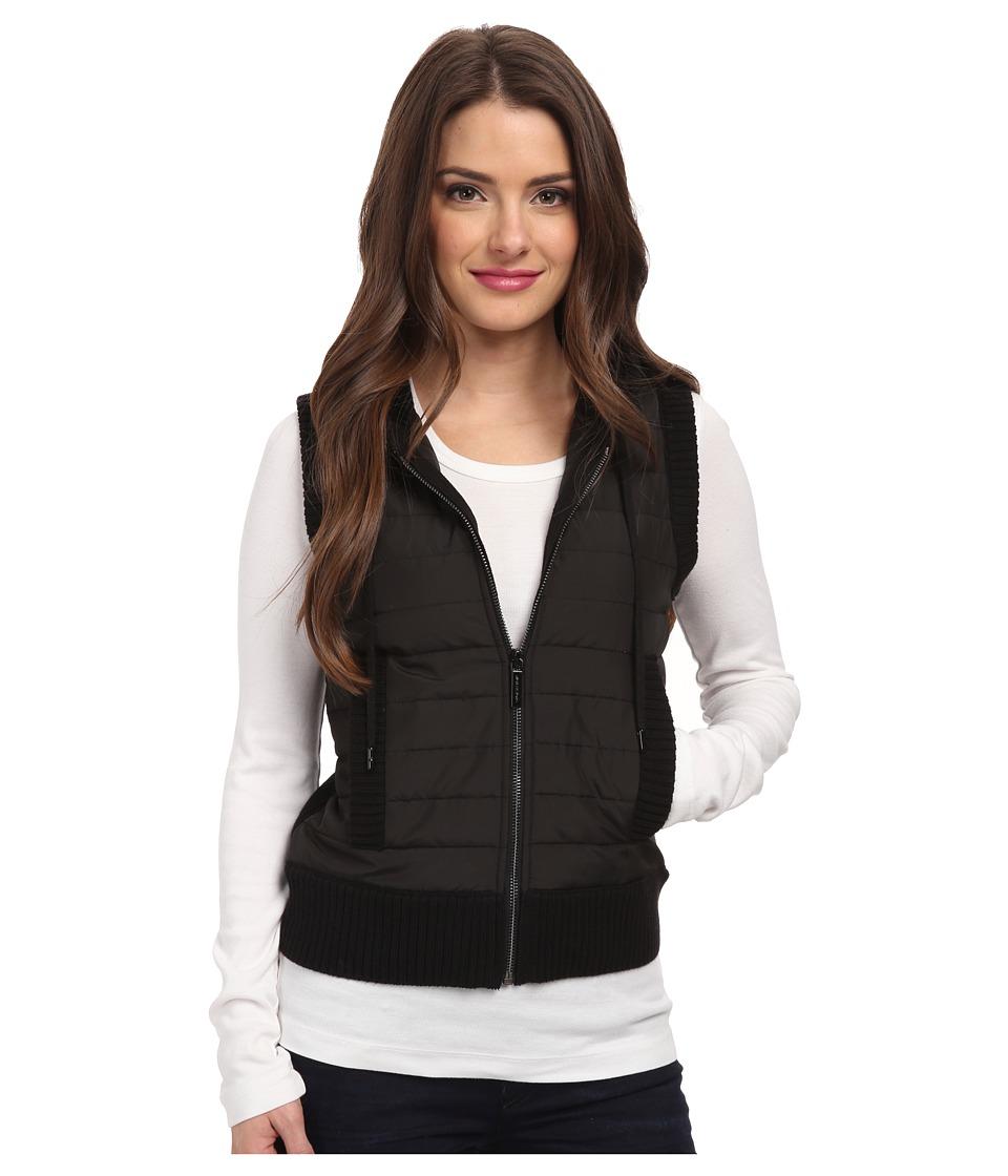 MICHAEL Michael Kors - Petite Sleeveless Puff Zip Frontt Vest (Black/Black) Women