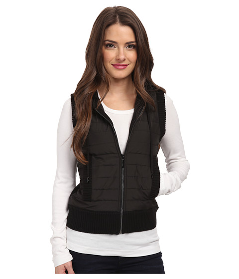 MICHAEL Michael Kors - Petite Sleeveless Puff Zip Frontt Vest (Black/Black) Women's Vest