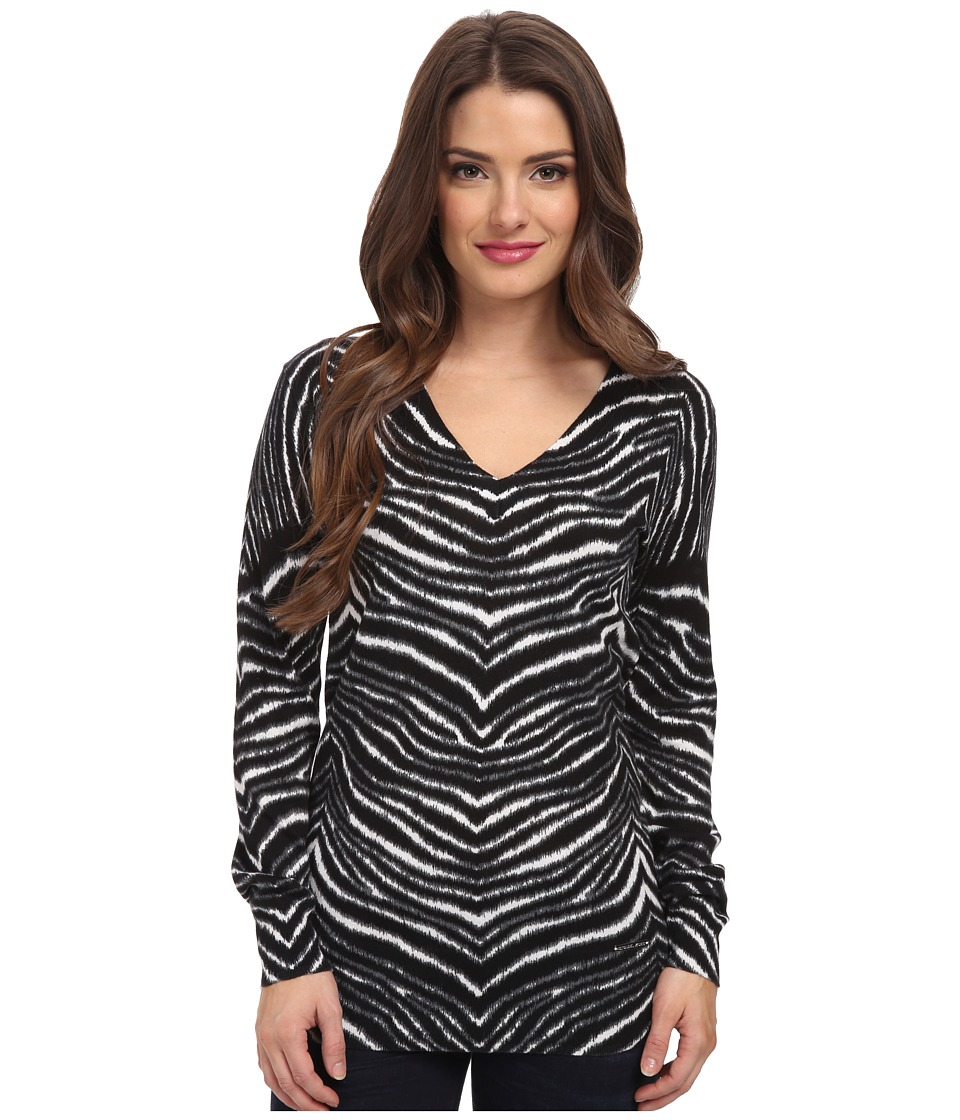 MICHAEL Michael Kors - Petite Zebra Print V-Neck Sweater (White) Women's Long Sleeve Pullover