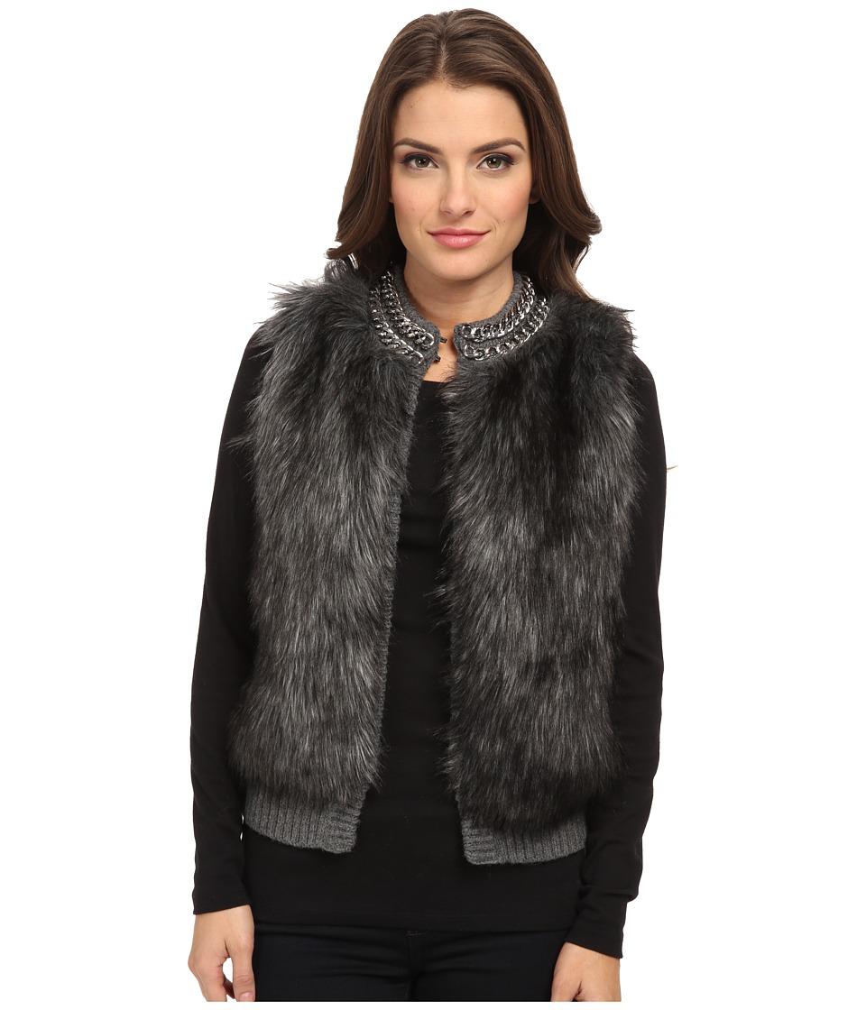 MICHAEL Michael Kors - Petite Chain Neck Fur Front Vest (Derby) Women