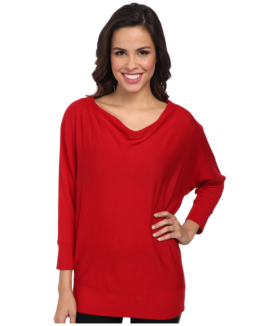 MICHAEL Michael Kors - Cowl Neck Zip Shoulder Sweater (Red Blaze) Women's Sweater