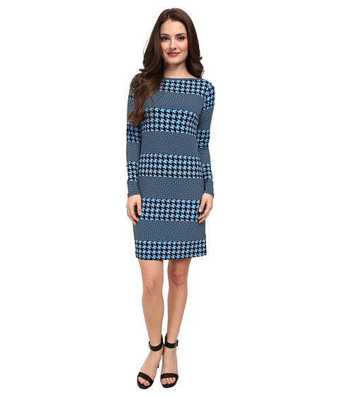 MICHAEL Michael Kors - Petite Long Sleeve Boatneck Aquarias Stripe Dress (Heritage Blue) Women's Dress