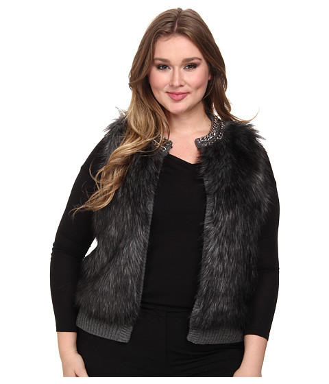 MICHAEL Michael Kors - Plus Size Chain Neck Fur Front Vest (Derby) Women's Vest