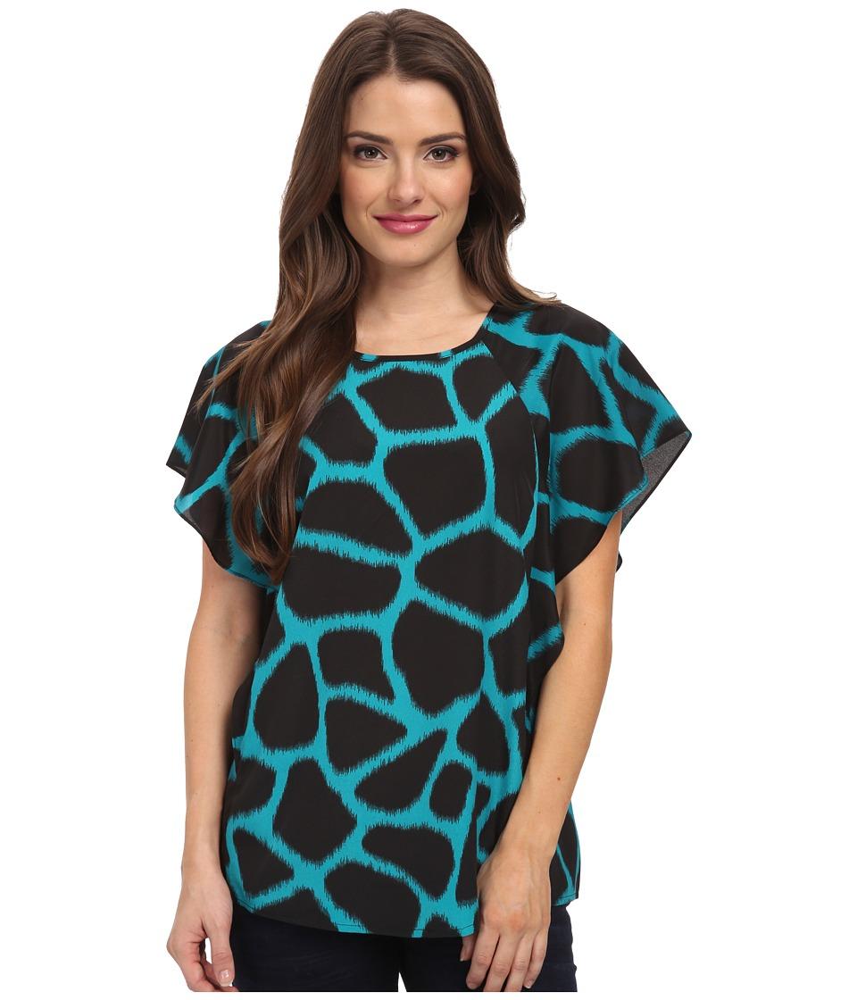 MICHAEL Michael Kors - Petite Antalia Giraffe Print Top (Tile Blue) Women