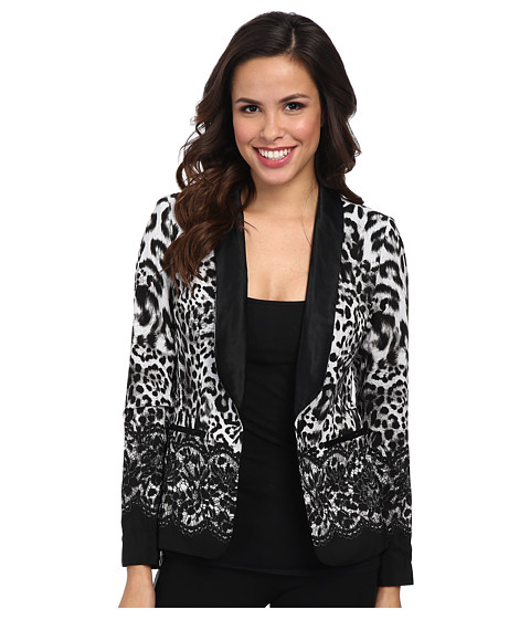 MICHAEL Michael Kors - Printed Soft Blazer (White) Women's Jacket