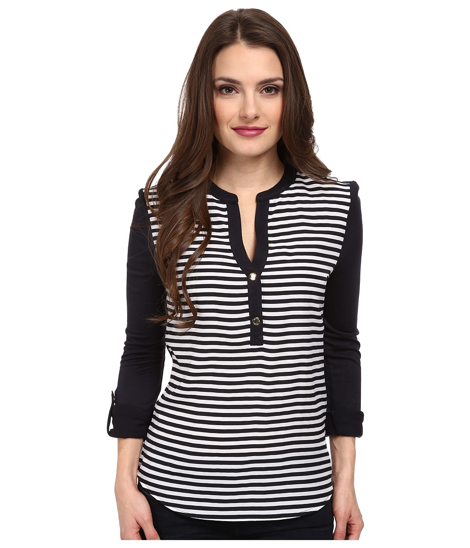 MICHAEL Michael Kors - Petite Boden Stripe Top (New Navy) Women