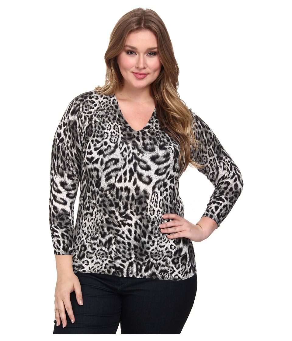 MICHAEL Michael Kors - Plus Size Freemont Print V-Neck Sweater (Black) Women's Long Sleeve Pullover