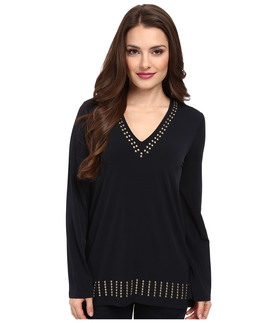 MICHAEL Michael Kors - Petite Stud V-Neck Tunic (New Navy) Women's Blouse