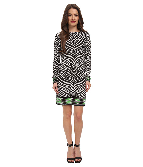MICHAEL Michael Kors - Petite Long Sleeve Zebra Boatneck Border Dress (White) Women's Dress