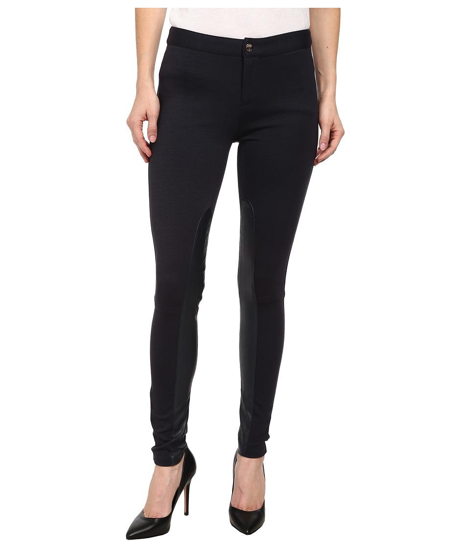 MICHAEL Michael Kors - Petite Leather Panel Seamed Pant (New Navy) Women's Casual Pants