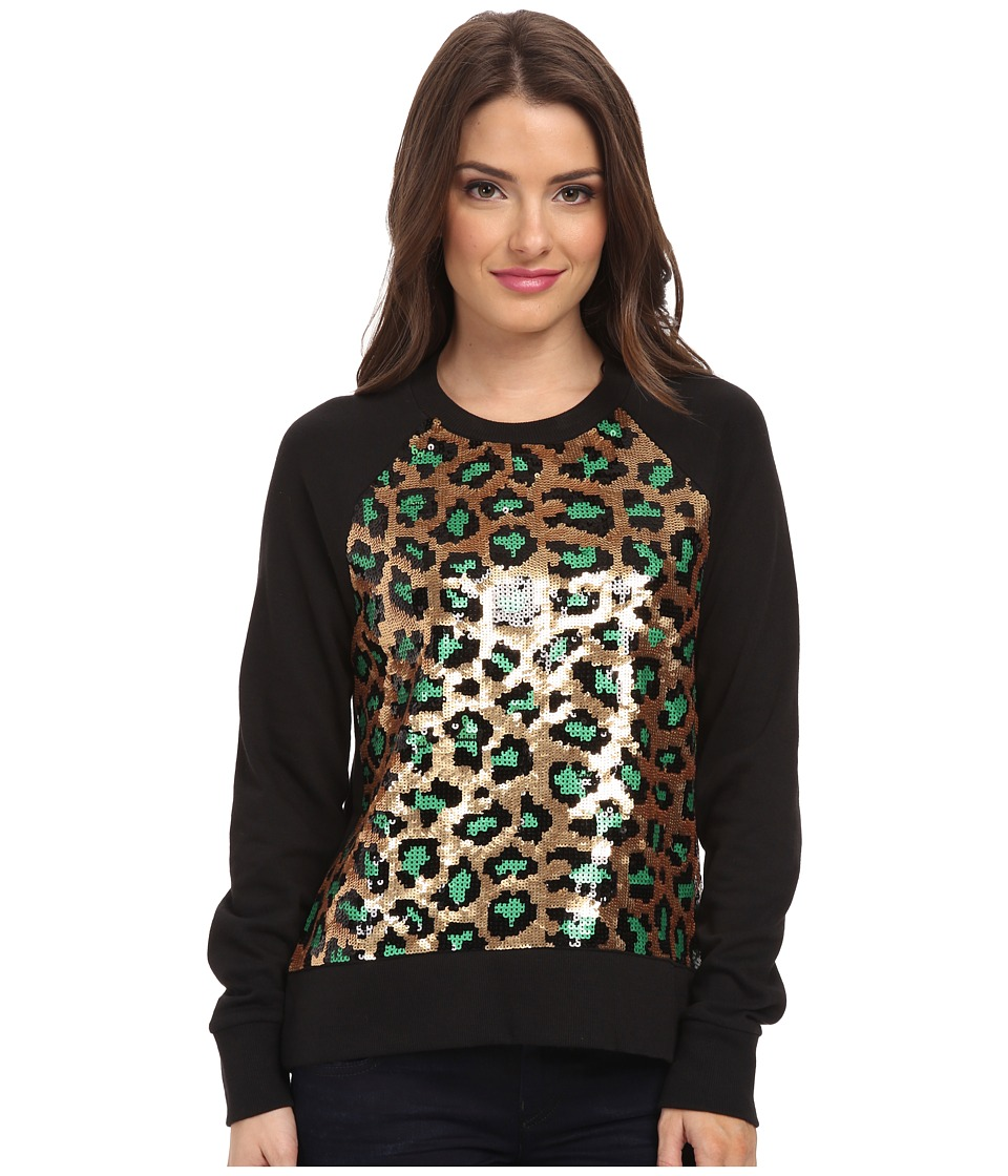 MICHAEL Michael Kors - Petite Cheetah Sequin Long Sleeve Terry Top (Black) Women's Sweatshirt