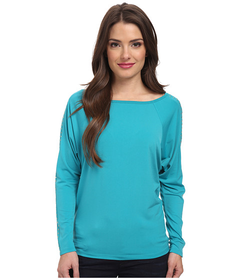 MICHAEL Michael Kors - Petite Long Sleeve Studded Raglan Top (Tile Blue) Women's Long Sleeve Pullover
