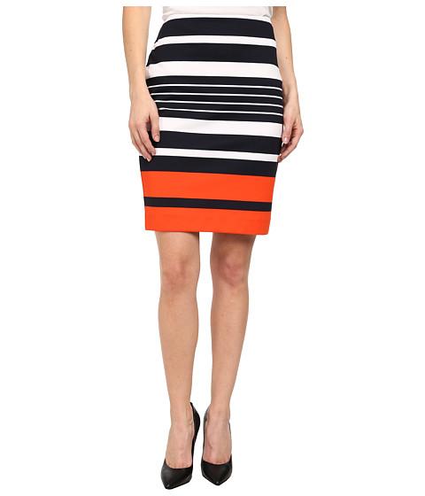 MICHAEL Michael Kors - Petite Helsinki Stripe Ponte Skirt (New Navy/Mandarin) Women