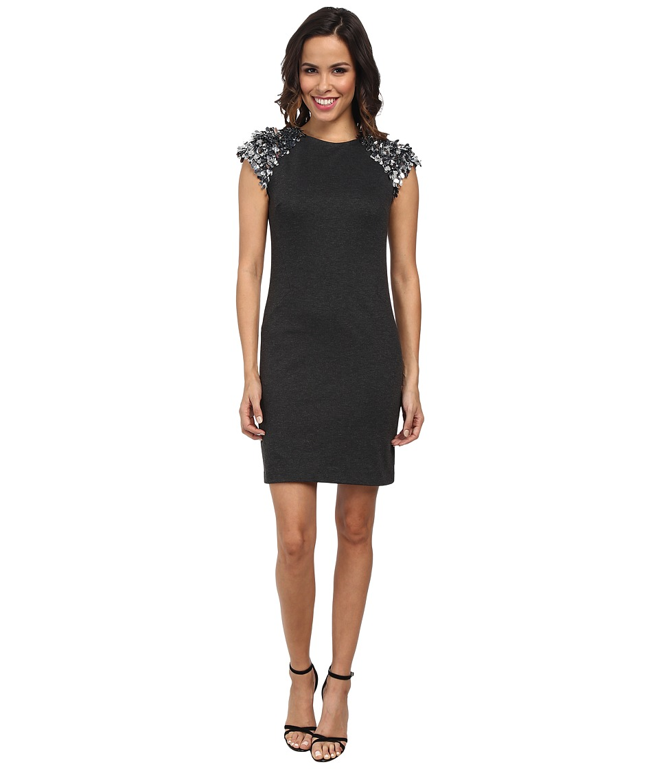 MICHAEL Michael Kors Sequin Short Sleeve Ponte Dress (Dark Derby) Women