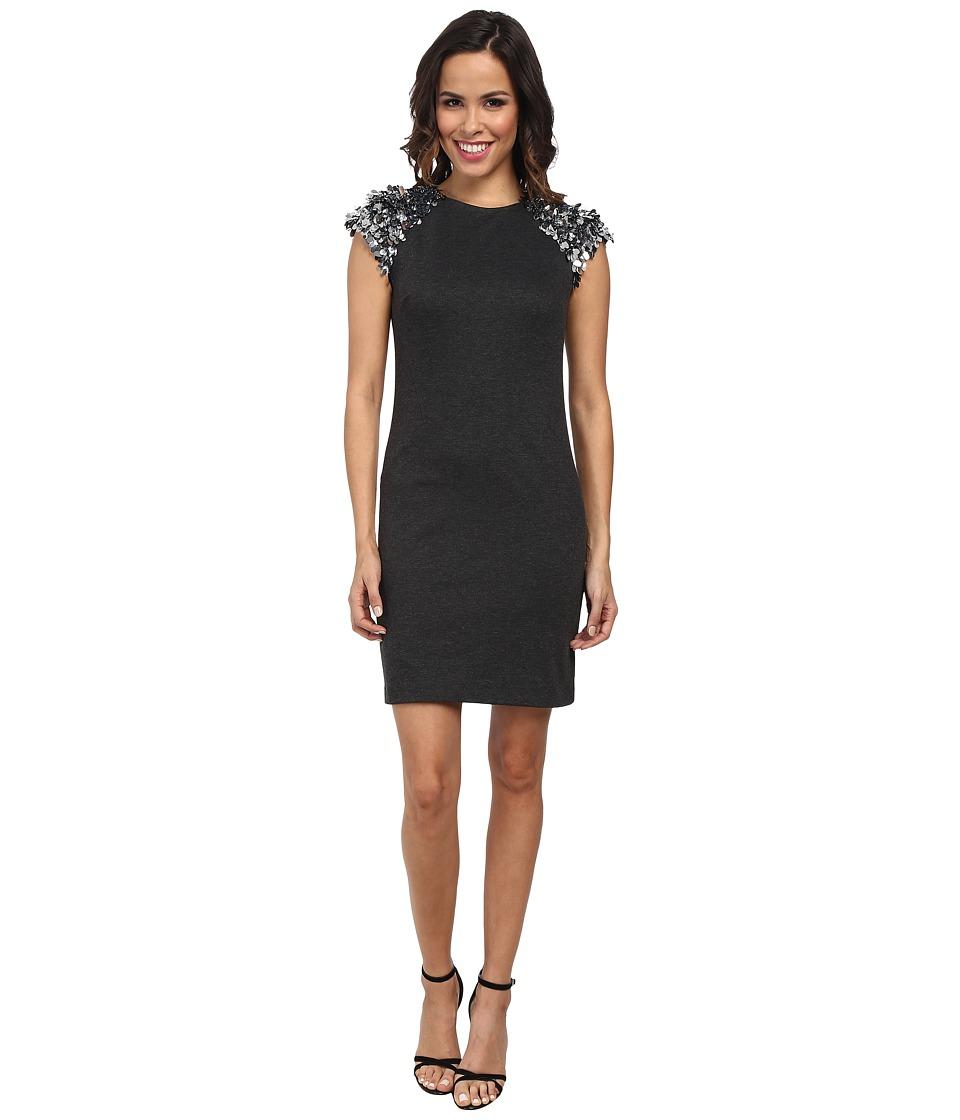 MICHAEL Michael Kors Sequin Short Sleeve Ponte Dress (Dark Derby) Women
