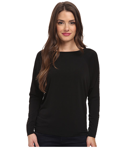 MICHAEL Michael Kors - Petite Long Sleeve Studded Raglan Top (Black/Gold) Women's Long Sleeve Pullover