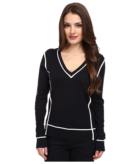 MICHAEL Michael Kors - Petite Color Block Long Sleeve V-Neck Sweater (New Navy) Women's Sweater