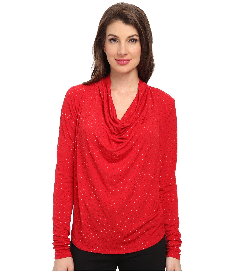 MICHAEL Michael Kors - Long Sleeve Cowl Neck Dip Hem Top (Red Blaze) Women