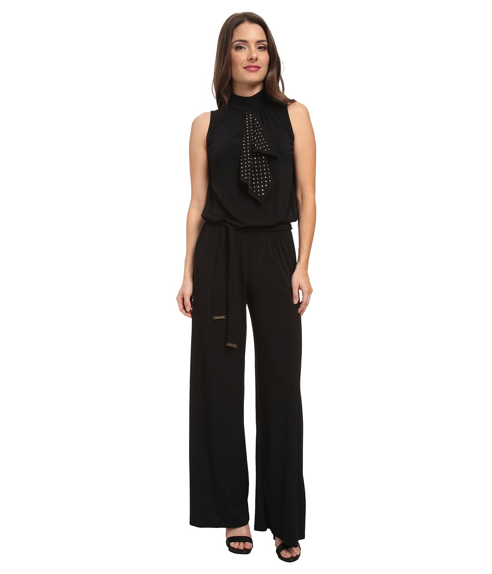 MICHAEL Michael Kors - Petite Stud Flounce Wide Leg Jumpsuit (Black/Gold) Women's Jumpsuit & Rompers One Piece
