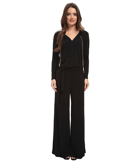MICHAEL Michael Kors - Petite Long Sleeve Chain Neck Wide Leg Jumpsuit (Black/Gold) Women's Jumpsuit & Rompers One Piece