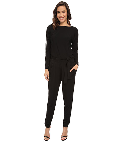 MICHAEL Michael Kors - Long Sleeve Studded Boatneck Jumpsuit (Black/Silver) Women