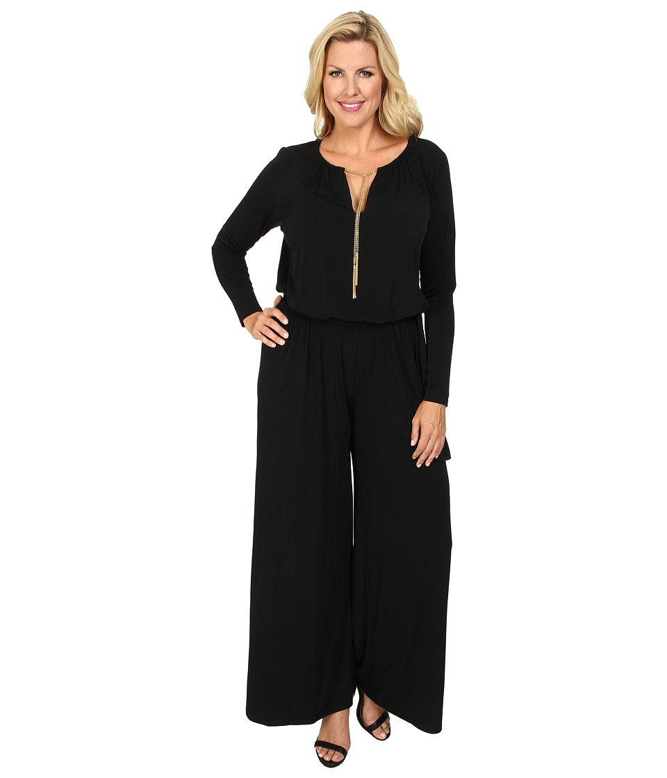 MICHAEL Michael Kors - Plus Size Long Sleeve Chain Neck Wideleg Jumpsuit (Black Gold) Women's Jumpsuit & Rompers One Piece