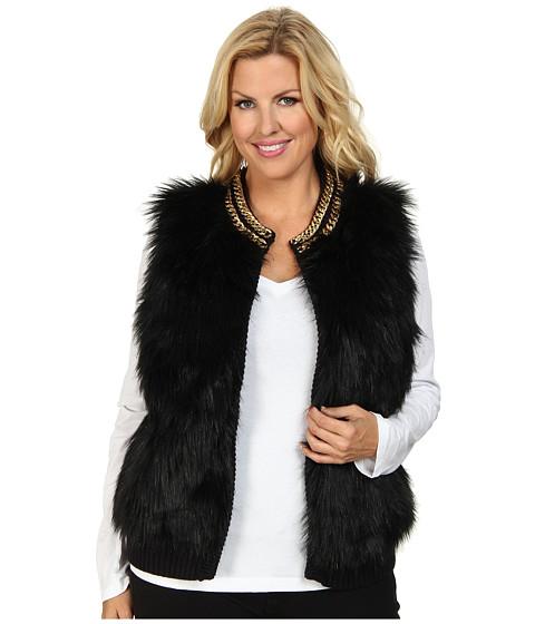 MICHAEL Michael Kors - Plus Size Chain Neck Fur Front Vest (Black) Women's Vest