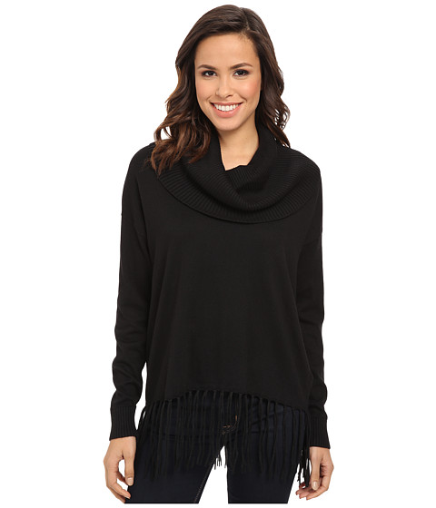 MICHAEL Michael Kors - Fringe Hem Cowl Neck Sweater (Black) Women's Long Sleeve Pullover